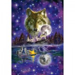 Puzzle  Schmidt-Spiele-58233 Wolf im Mondlicht