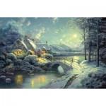 Puzzle  Schmidt-Spiele-58453 Thomas Kinkade: Winterliches Mondlicht