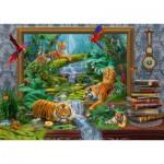 Puzzle  Schmidt-Spiele-59337 Jan Patrik Krasny, Coming to Life, Tiger im Dschungel