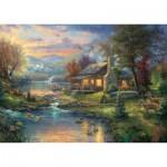 Puzzle  Schmidt-Spiele-59467 Thomas Kinkade, Im Naturparadies