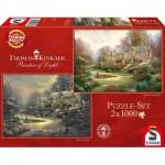 Schmidt-Spiele-59469 2 Puzzles - Thomas Kinkade, Sonnenuntergang oder Winter in Riverbend