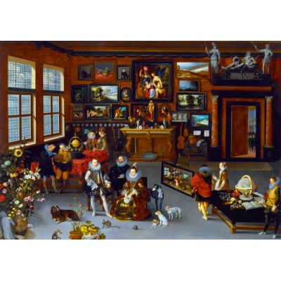 Puzzle Art-by-Bluebird-60077 Hieronymus Francken Iicirca - The Archdukes Albert and Isabella Visiting a Collector's Cabinet, 1623