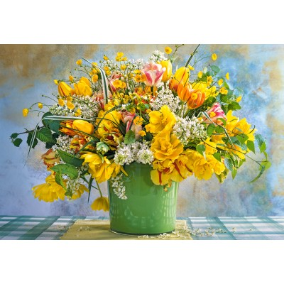 Puzzle Castorland-104567 Spring Flowers in Green Vase