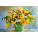 Puzzle   Spring Flowers in Green Vase