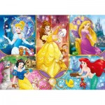 Clementoni-20140 Brilliant Puzzle - Disney Princess