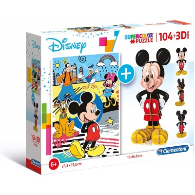 Clementoni-20157 Mickey Mouse (Puzzle + 3D Model)