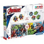 Clementoni-20209 Superkit 4 in 1 - The Avengers (2 Puzzles + Memory + Domino)