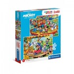 Clementoni-21620 2 Puzzles - Mickey and Friends