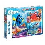 Clementoni-25214 3 Puzzles - Finding Dory