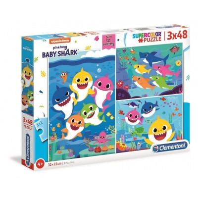 Puzzle Clementoni-25261 Baby Shark (3x48 Teile)
