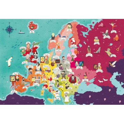 Puzzle Clementoni-29061 Exploring Maps : Europe - Monuments + People