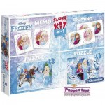 Super Kit 4 in 1 - Frozen - 2 Puzzles + Memo + Domino