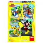Dino-33326 4 Puzzles - Mickey Mouse in the City