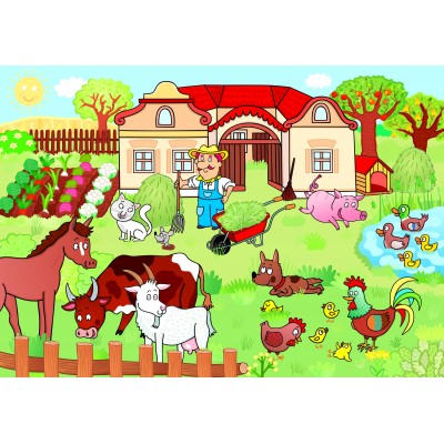 Puzzle Dino-34349 XXL Teile - Animals on the Farm
