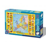 Puzzle  Dtoys-50663-MP-02 Europakarte mit Flaggen