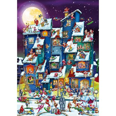 Puzzle DToys-61218-CC07-(70869) Cartoon Collection: Weihnachtsrummel