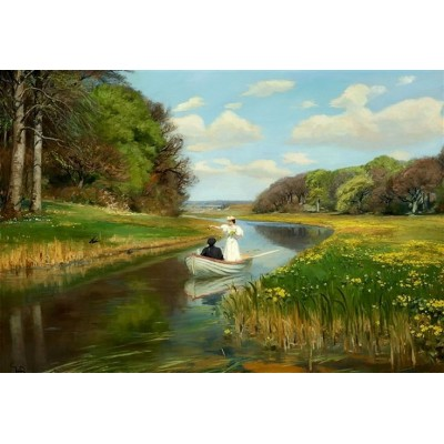 Puzzle Dtoys-72795 Hans Andersen Brendekilde: A Young Couple in a Rowing Boat on Odense