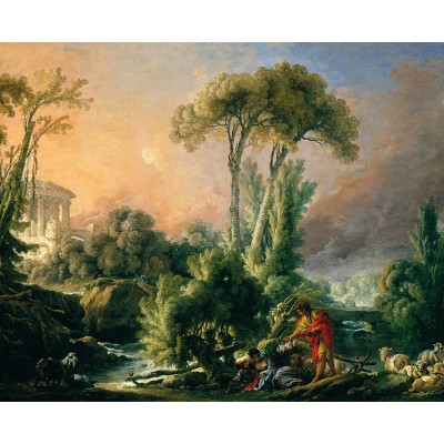 Puzzle Dtoys-74980 François Boucher: River Landscape with an Antique Temple