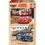 Educa-16799 2 Holzpuzzles - Cars