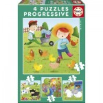 Educa-17145 4 Puzzles - Farm Animals