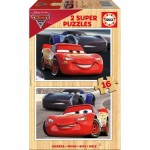 Educa-17172 2 Holzpuzzles - Cars
