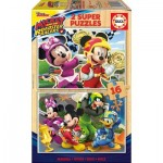 Educa-17622 2 Holzpuzzles - Mickey and The Roadster Racers