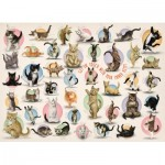 Eurographics-6500-0991 XXL Teile - Familiy Puzzle: Yoga Kittens