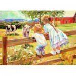 Puzzle  Eurographics-8000-0450 Corinne Hartley - Kinder auf einer Barriere