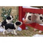 Puzzle  Jumbo-11080 Sarah Adams: Puppies and Pig