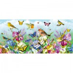 Gibsons-G4019 Puzzle 636 Teile Panorama: Butterflies and Blooms