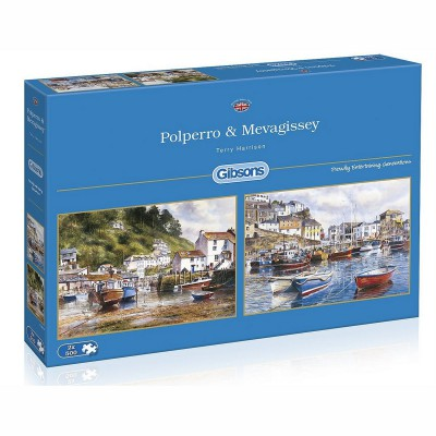Gibsons-G5019 Puzzle 2 x 500 Teile: Mevagissey and Polperro