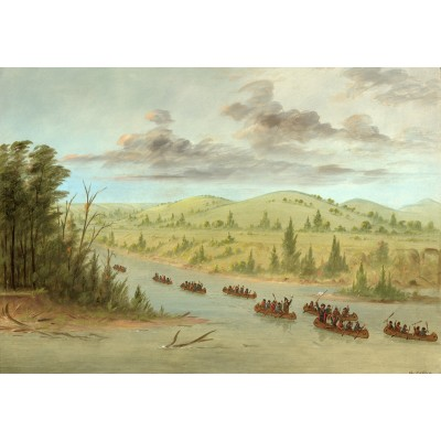 Puzzle Grafika-Kids-01501 George Catlin: La Salle's Party Entering the Mississippi in Canoes. February 6, 1682, 1847-1848