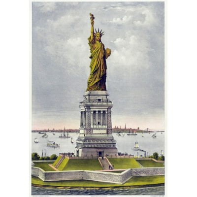 Puzzle Grafika-00580 Poster Currier & Ives: The great Bartholdi Statue, Liberty enlightening the World, 1885