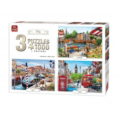 King-Puzzle-05205 3 Puzzles - City Collection