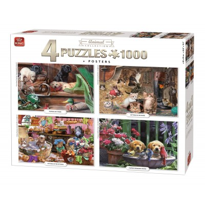 King-Puzzle-55931 4 Puzzles - Animal Collection