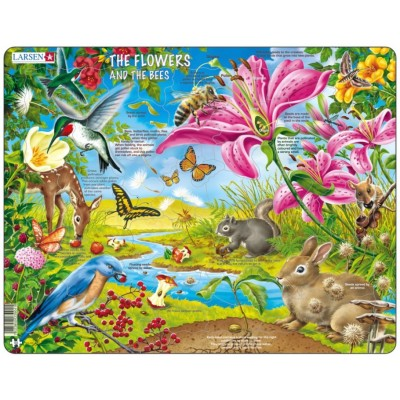 Larsen-NB4-GB Rahmenpuzzle - The Flowers and the Bees (auf Englisch)