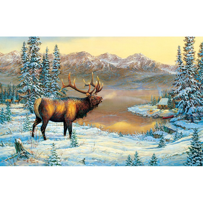 sunsout-sam-timm-elk-by-the-cabin