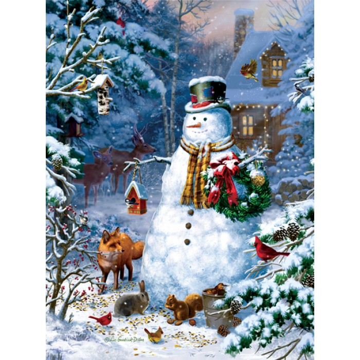 sunsout-liz-goodrick-dillon-winter-cabin-snowman