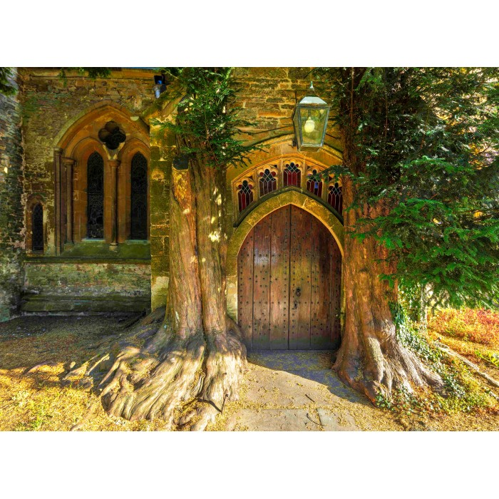 grafika-st-edward-s-parish-church-north-door-flanked-by-yew-trees