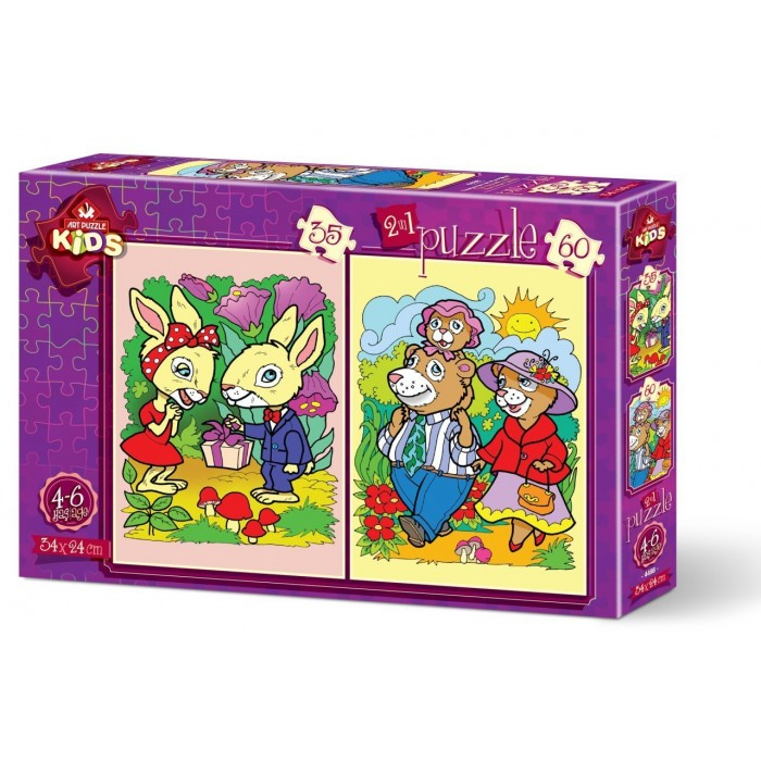 Art Puzzle 2 Puzzles - The Rabbits and The Bear Family
