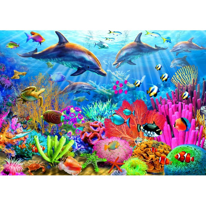 bluebird-puzzle-dolphin-coral-reef