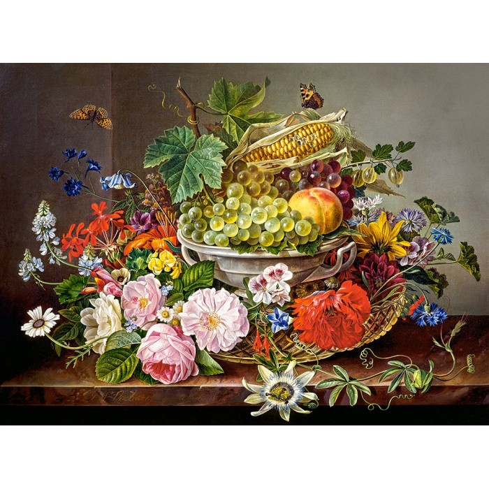 castorland-still-life-with-flowers-and-fruit-basket
