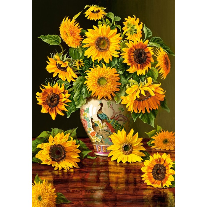 castorland-sunflowers-in-a-peacock-vase