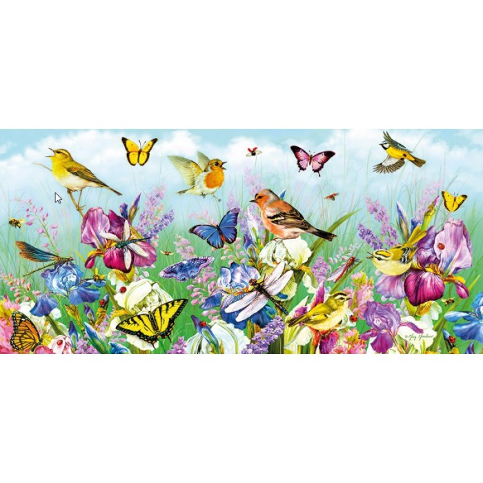 gibsons-puzzle-636-teile-panorama-butterflies-and-blooms