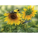 Puzzle  Cobble-Hill-51818 Rosemary Millette - Sunflowers and Goldfinches