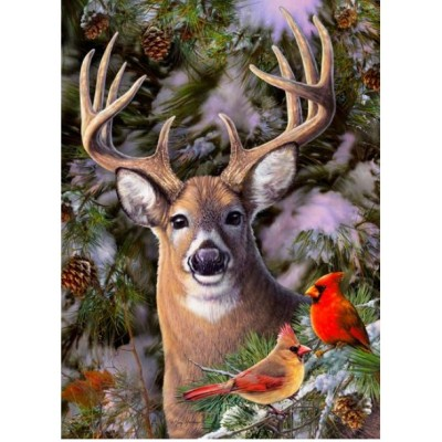 Puzzle Cobble-Hill-85014 XXL Teile - One Deer Two Cardinals