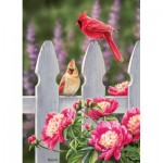Puzzle   Cardinals and Peonies