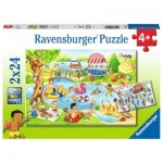 Ravensburger-05057 2 Puzzles - Erholung am See