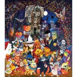 Puzzle  Sunsout-21878 XXL Teile - Cats and Dogs on Halloween