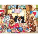 Puzzle  Sunsout-36456 XXL Teile - Puppies in the Kitchen
